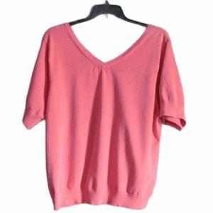 Tommy Hilfiger Size 3X Short Sleeve V Neck Top